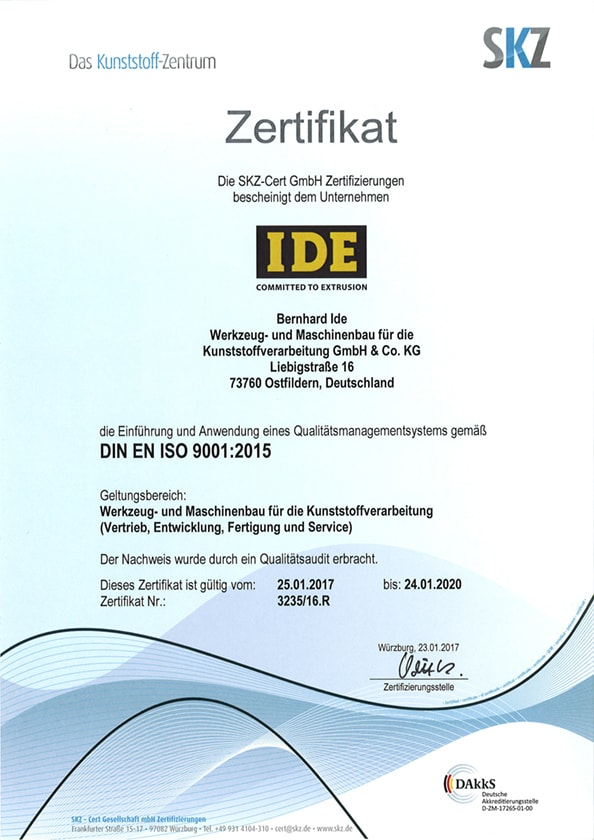 Certification Ide Extrusion
